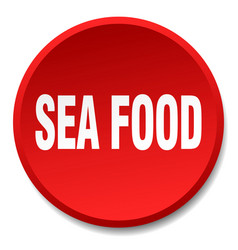 Sea food red round flat isolated push button vector