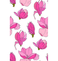 Seamless pattern with magnolia flowers vector