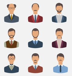 set business people front portrait of males vector image vector image