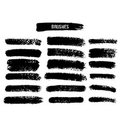 set of black paint ink brush strokes brushes vector image vector image