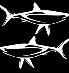 Shark black and white outline vector image vector image
