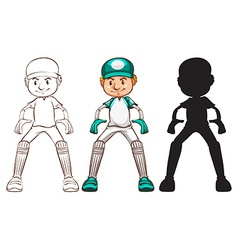 Sketches of a cricket player in different colours vector