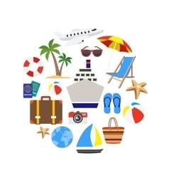 Vacation decorative icons set vector