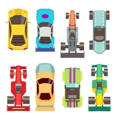 Sport race cars top view flat icons vector