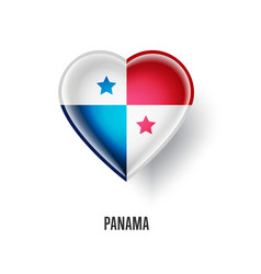 Patriotic heart symbol with panama flag vector