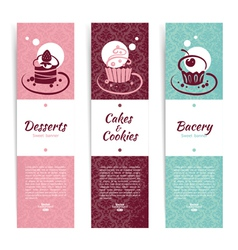 Set of vintage bakery banners with cupcakes vector