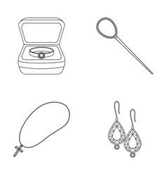 Ring in a case hair clip earrings with stones a vector