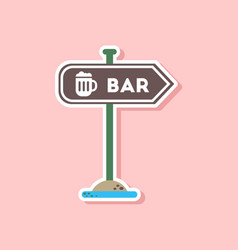 Paper sticker on stylish background sign of bar vector