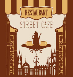 Banner for street cafe with table and hot tea vector