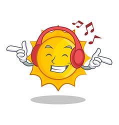 listening music cute sun character cartoon vector image