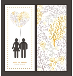 Magical floral couple in love silhouettes vector