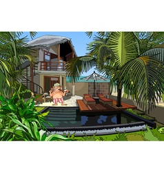 Cartoon man in a villa with a pool vector