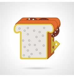 Double sandwich flat color icon vector
