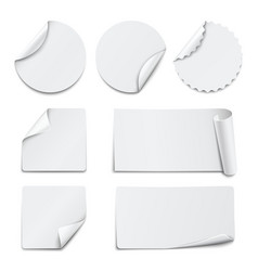 Set of white paper stickers on white background vector