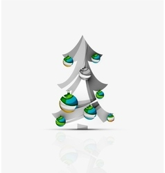Merry christmas decorated tree with glossy balls vector