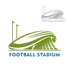 Football stadium building with flags vector