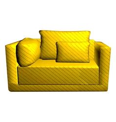 Leather yellow sofa with pillows isolated on white vector