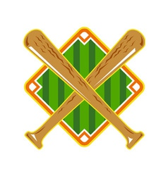 Baseball diamond crossed bat retro vector