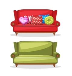 Sofa soft colorful homemade set 4 vector