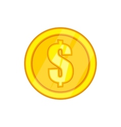 One gold coin icon in cartoon style vector