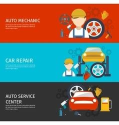 Auto Mechanical Service Horizontal Banners Set vector image vector image