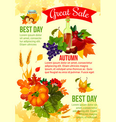 autumn sale banner with fall leaf and veggies vector image