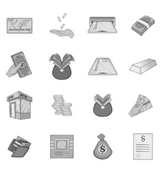 Bank loan credit icons set monochrome style vector