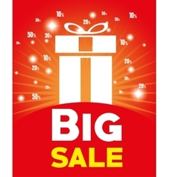 big sale big gift light red background vector image
