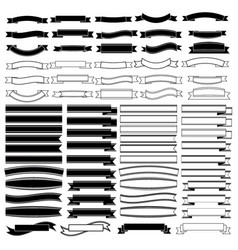 black and white ribbons banners set vector image