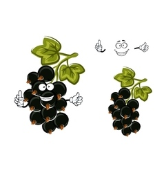 Cartoon black currant fruit with berries vector