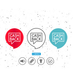 Cashback service line icon money transfer vector