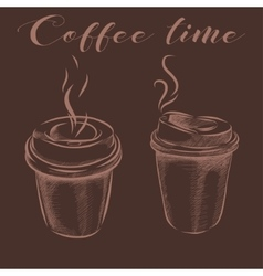 Collection of hand-drawn pictures coffee cups vector