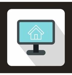 Computer monitor with architecture program icon vector