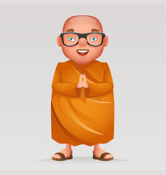 cute buddhist monk traditional asian buddhist vector image vector image