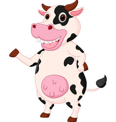 cute cow cartoon waving hand vector image vector image