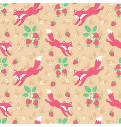 Cute foxes and strawberries seamless pattern vector