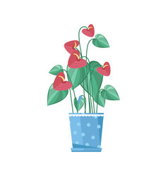 cute spring colorful flower in pot icon vector image
