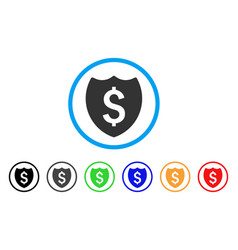 Financial shield rounded icon vector