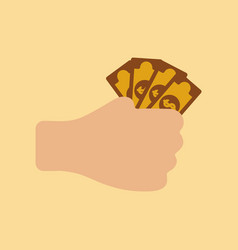Flat icon on stylish background money in hand vector