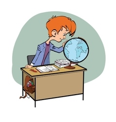 Geography student boy looking globe vector