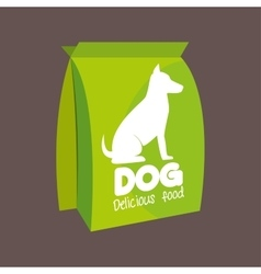 Green bag delicious food dog icon vector