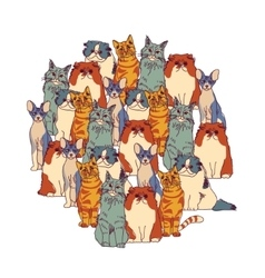 Group cats isolate on white vector image vector image