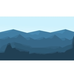 Hills landscape flat of silhouette vector