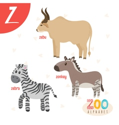 Letter Z Cute animals Funny cartoon animals in vector image vector image