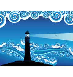 Lighthouse in the sea7 vector