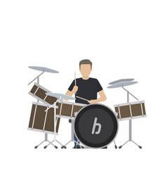 man plays on big drum set isolated vector image vector image