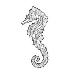 Monochrome hand drawn zentagle of sea horse vector