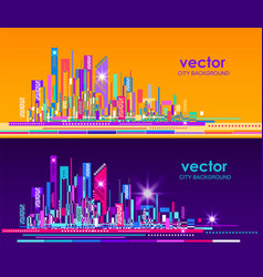 night and day city skyline vector image vector image