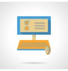 Online examination flat color design icon vector image