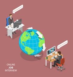 online job interview flat isometric vector image